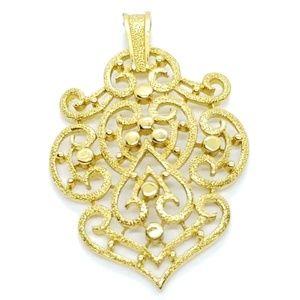 Vintage Crown Trifari Gold Brushed Pendant